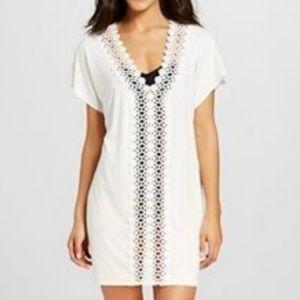 MERONA White Crochet Swim Cover Up Shirt Dress